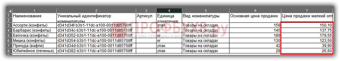 Модифицированный файл выгрузки