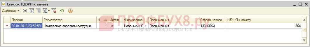 списание излишне удержанного НДФЛ в регистре НДФЛ к зачету