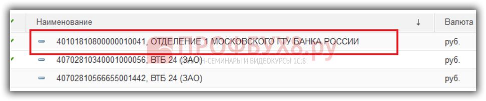 Форма списка справочника Банковские счета после удаления помеченных объектов