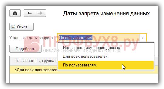 Установка даты запрета по пользователям