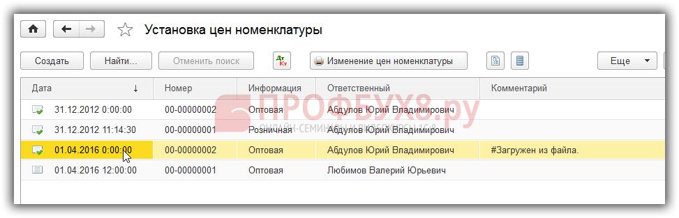 Список документов УЦН
