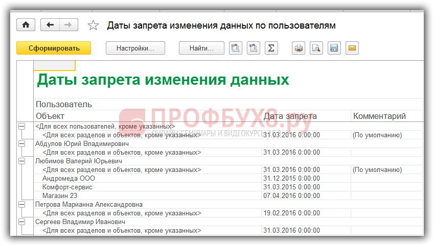 печатная форма отчета по настройкам даты запрета изменения данных