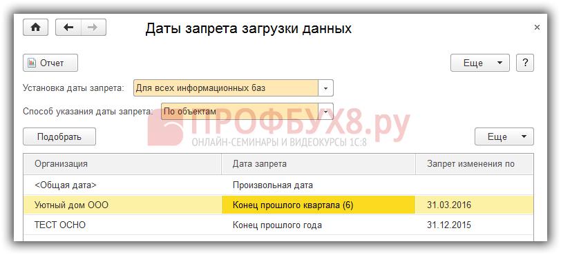 Настройка даты запрета загрузки данных по организациям