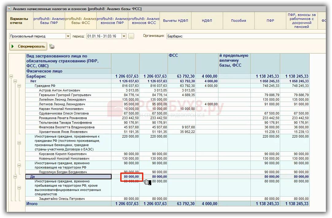 ФСС за квартал в С ЗУП  Данные из отчета должны быть равны строке 8 Таблицы 3 формы 4 ФСС Все верно