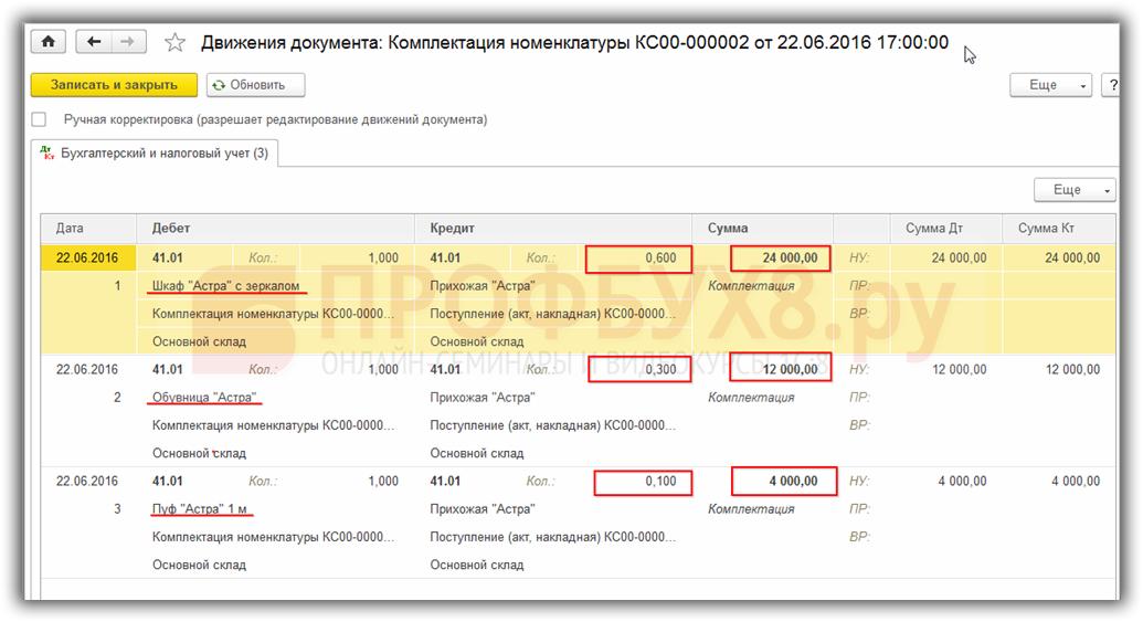 проводки документа Комплектация номенклатуры с видом Разукомплектация