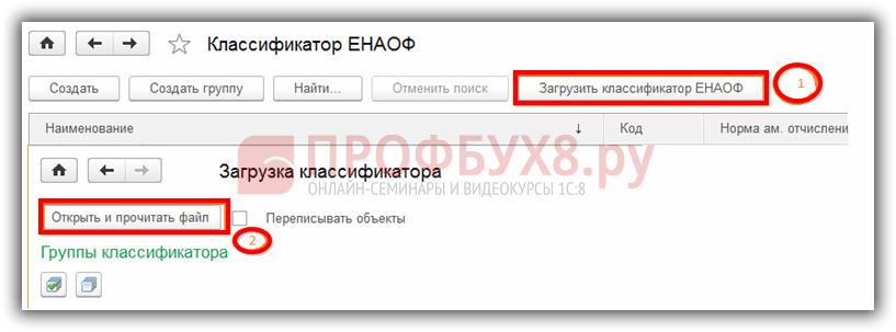 Загрузка классификатора ЕНАОФ