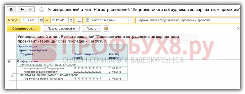 отчет по открытым лицевым счетам в 1С 8.3