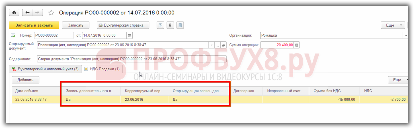 сторнирующая запись регистра НДС Продажи