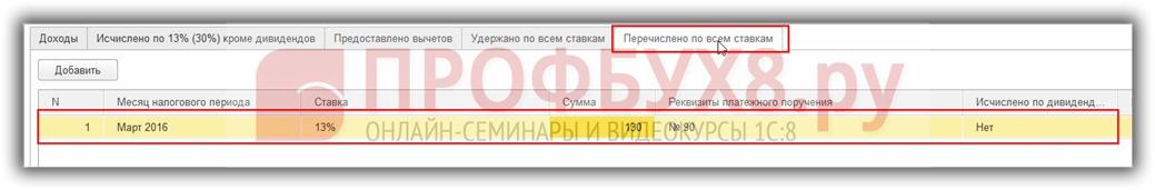 документ Операция учета НДФЛ вкладка Перечислено по всем ставкам