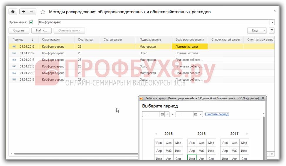 установленные методы распределения ОПР с отбором по дате