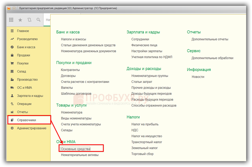 справочник Основные средства в интерфейсе 1С