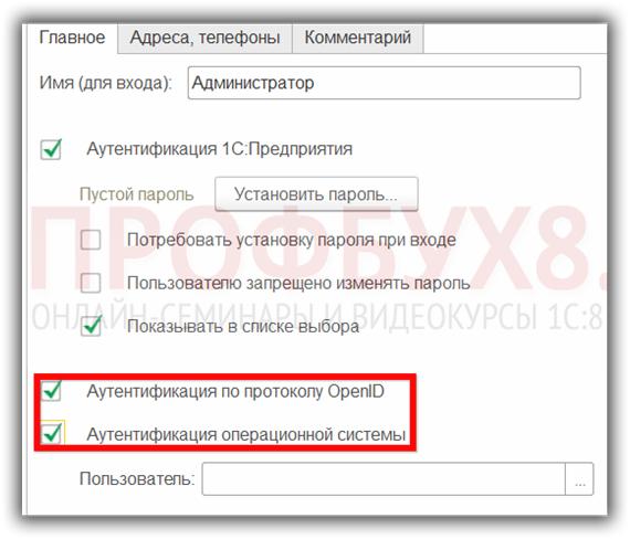 вход в 1С 8.3 по паролю операционной системы