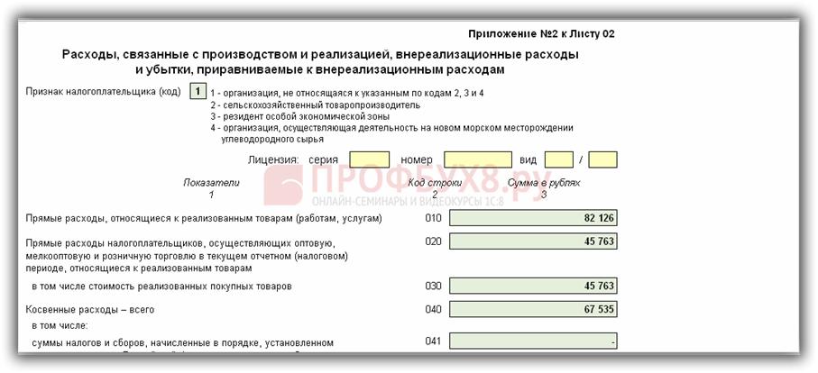 Пример заполнения приложения № 2 к листу 02 ДНП