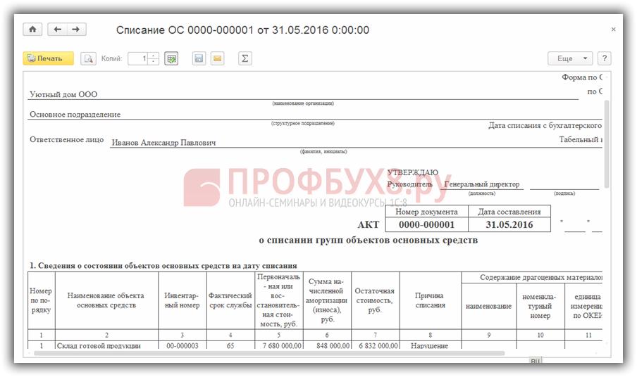 заполнение Акта о списании объекта основных средств (ОС-4)