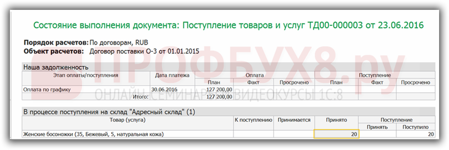 отчет Состояние выполнения документа
