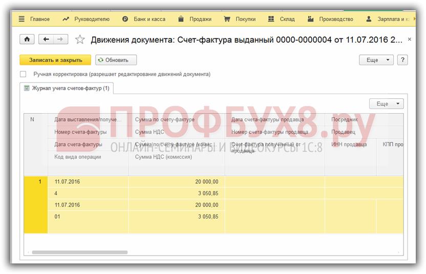 проводки документа Счет-фактура выданный