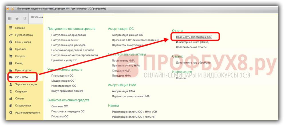 Ведомость амортизации ОС в интерфейсе 1С