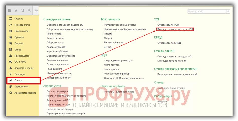 Книга учета доходов и расходов УСН в интерфейсе 1С