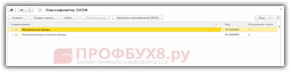 Классификатор ОКОФ загружен в 1С