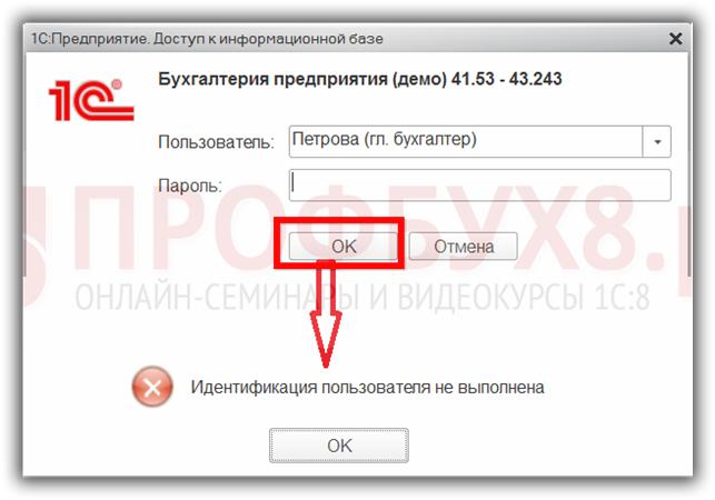 Идентификация пользователя не выполнена