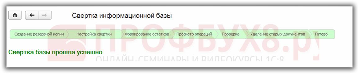 свертка базы 1С 8.3 Бухгалтерия прошла успешно