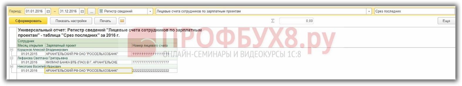 универсальный отчет по регистру сведений Лицевые счета сотрудников