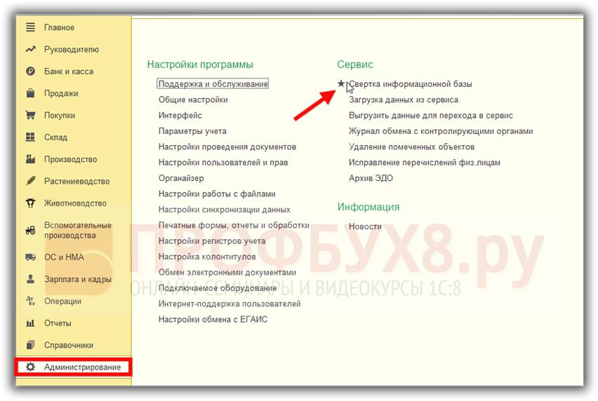 Обработка Свертка информационной базы в интерфейсе 1С