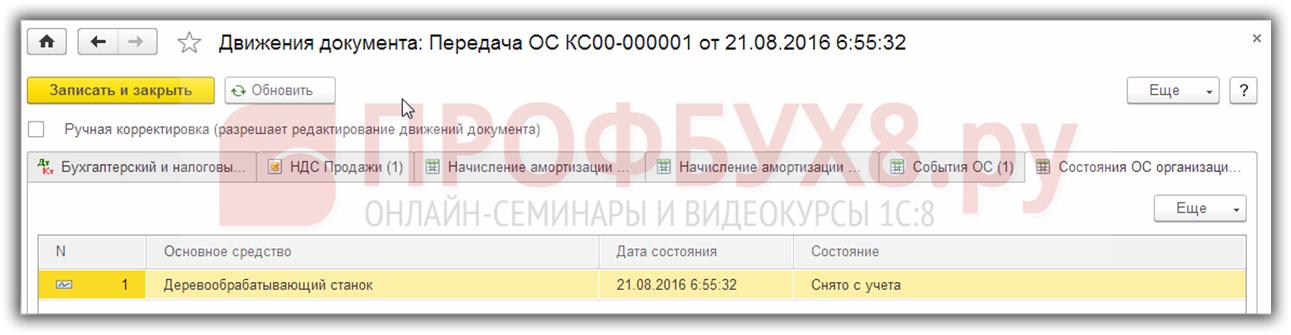 запись в регистры сведений о снятии с учета объекта ОС