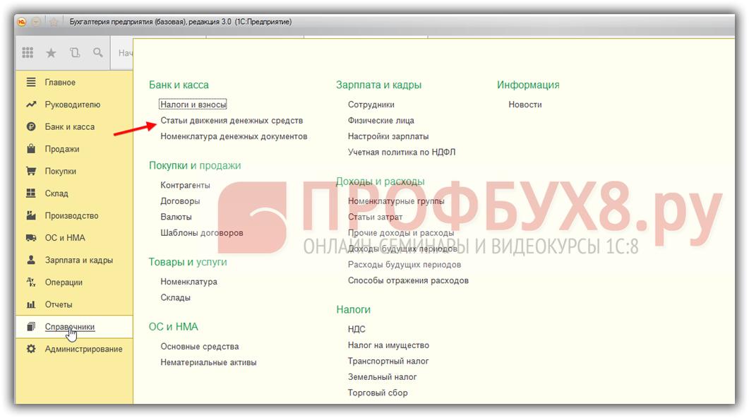 справочник Статьи движения денежных средств в 1С 8.3