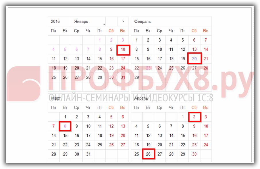 Виды дней в производственном календаре