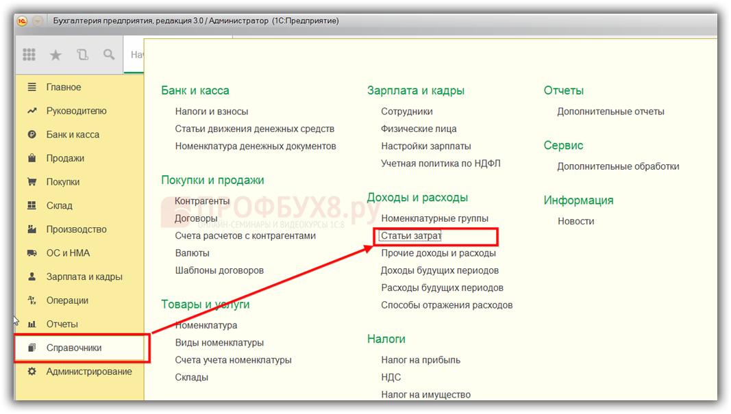 Статьи затрат в интерфейсе 1С