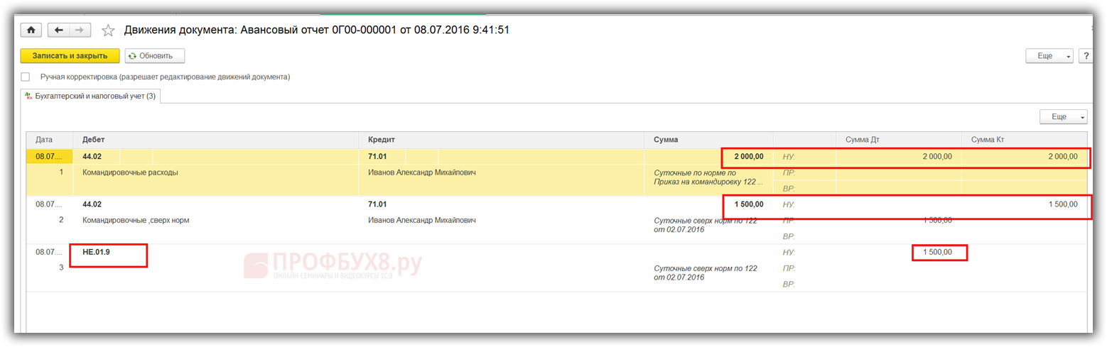 проводки документа Авансовый отчет в БУ и НУ