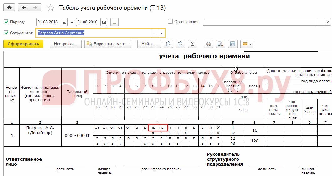 Регистрация дней отгулов в отчете Табель учета рабочего времени
