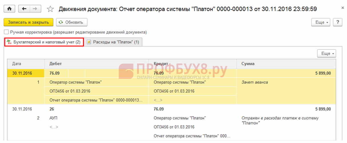 проводки документа Отчет оператора системы «Платон» в 1С 8.3