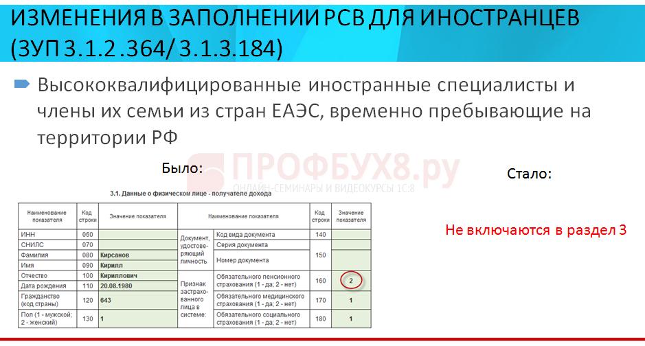 Изменения в заполнении РСВ для иностранцев в 1С ЗУП